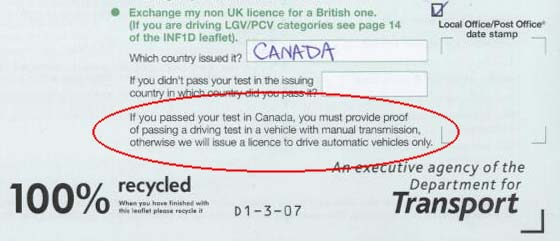 Automatic Only Licence for Canadians