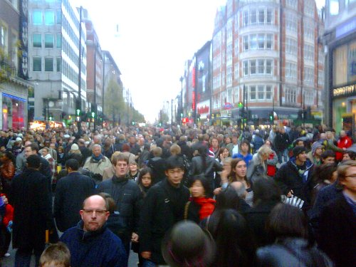 Oxford Circus Holiday Crowds